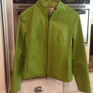Live a Little Lime Green Leather Jacket Small NWOT