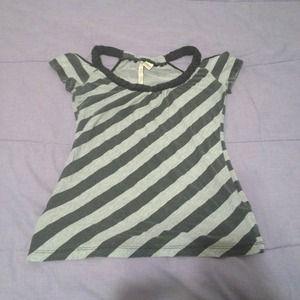 Tops - Stripe open shoulder top