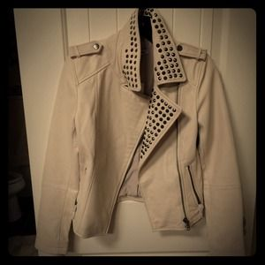 Cream lambskin moto jacket