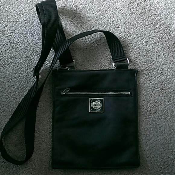 harley davidson - harley davidson cross body black leather bag