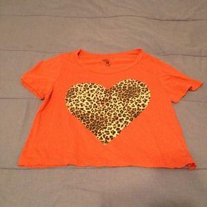 Tops - Orange heart leopard crop top