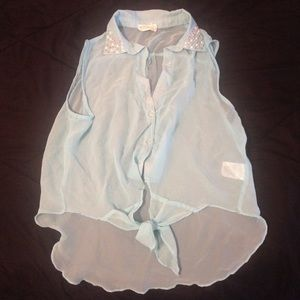 Tops - Sheer Blue high low front tie button down