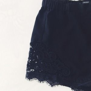 Forever 21 Pants - Black Lace Cutout Shorts
