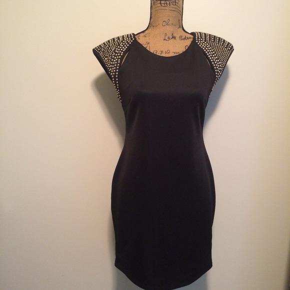 Dresses & Skirts - FLASH SALE! Black Dress Gold Studded Shoulder