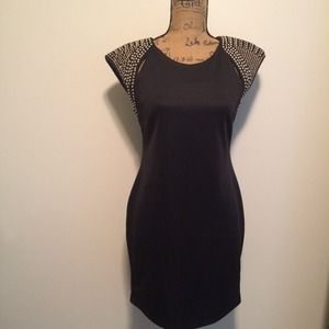 Dresses & Skirts - FLASH SALE! Black Dress Gold Studded Shoulder