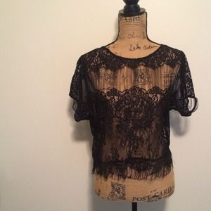 Urban Outfitters Tops - Black lace crop top - Urban Outfitters - Lg