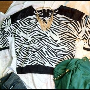 Zebra Striped Pullover with Vegan Leather Detail
