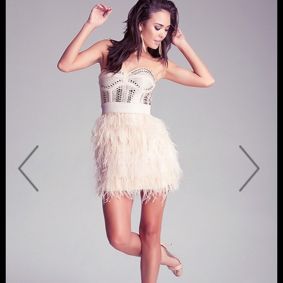 bebe Dresses & Skirts | Isis Feather Studded Cocktail Dress By ...