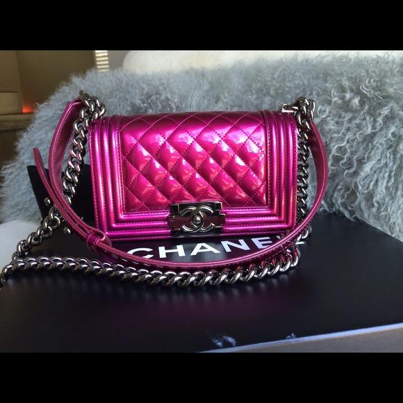 7de6c78c0a61b3 CHANEL Bags | Sold Auth Boy Metallic Fuchsia Pink | Poshmark