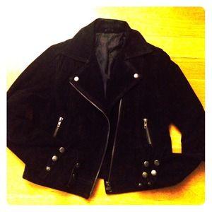 Motorcycle black real suede jacket