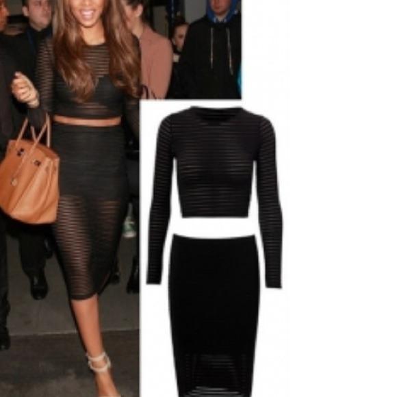 f04661227c Skirts   Black Sheer Mesh 2 Pc Crop Top Pencil Skirt Medium   Poshmark
