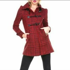 Ambiance Apparel Outerwear - NEW stylish RED PLAID lightweight coat jacket XS 2