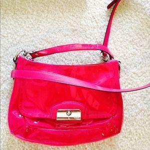 coach gray patent leather handbag iqiq  Patent leather, pink coach handbag