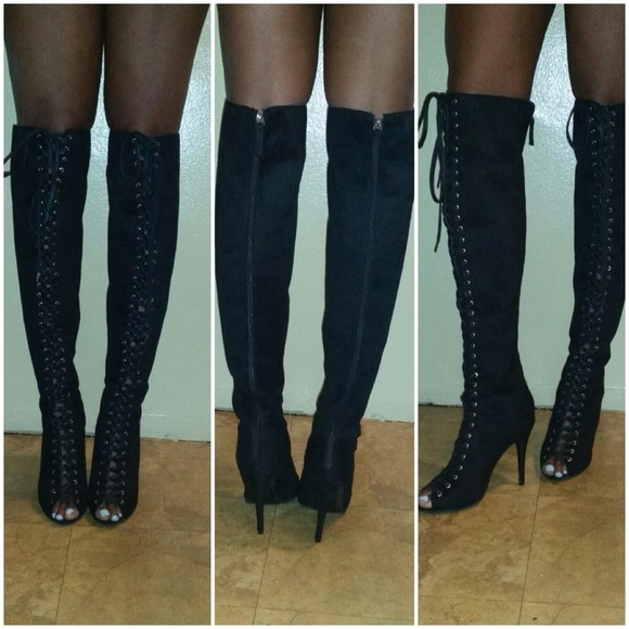 65% off Boots - SUEDE OVER KNEE LACE UP GLADIATOR BOOTS from ...