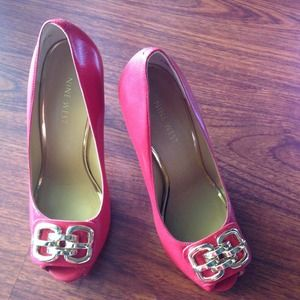 Nine West red leather heels