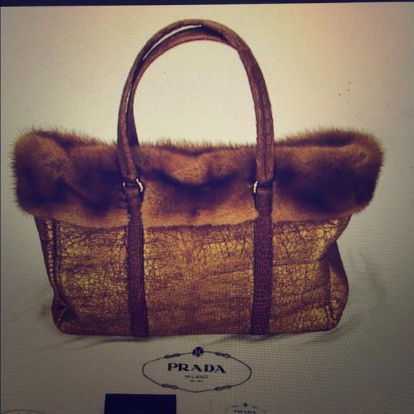 Prada Bags   Sold Sheepskin With Crocodile Mink Fur Bag   Poshmark b3257896f9