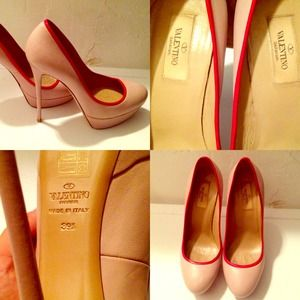 Valentino... Nude stilettos with red trim