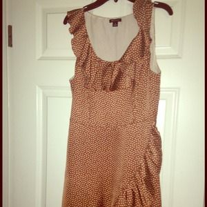 Brown polka dots dress by I heart Ronson