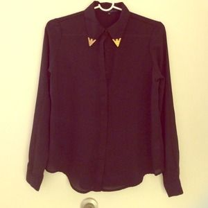 Tops - Black chiffon button up gold plate collar blouse