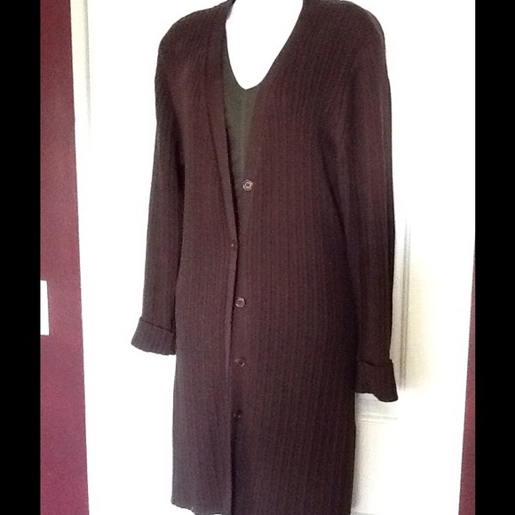 83% off Andrea Behar Sweaters - Long Chocolate Brown Rib Knit ...