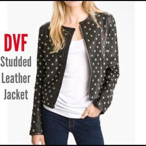 ⬇️DVF Diane Von Furstenberg Studded Leather Jacket