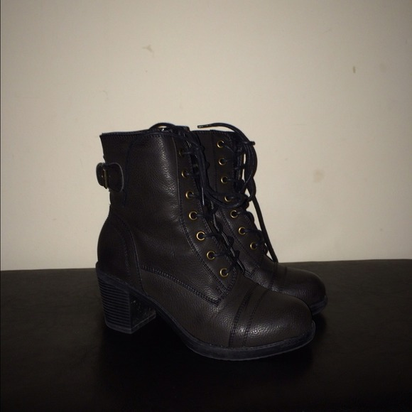 44% off Charlotte Russe Boots - Black low heel combat boots from ...