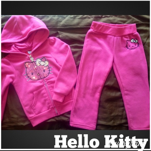 Hello Kitty Other - Toddler girl s pink cotton hooded sweat suit. 230ca1023b75