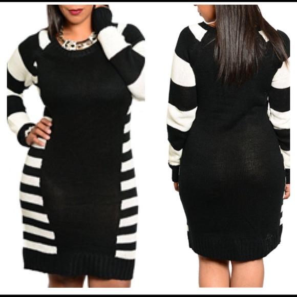 Dresses Hp 1113black White Sweater Dress Plus Size Poshmark
