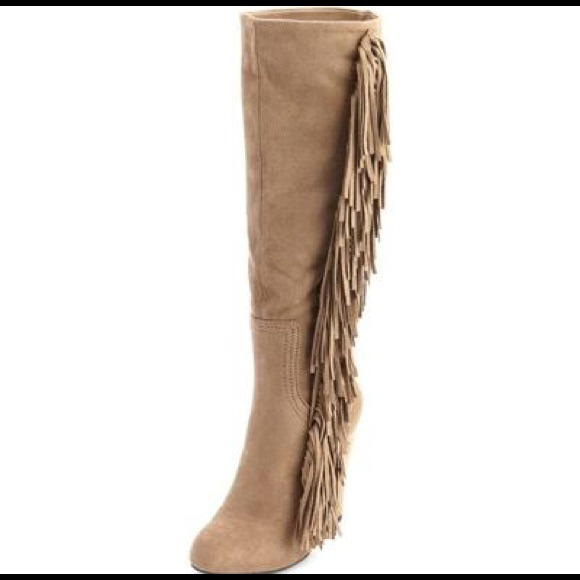 71% off Steve Madden Boots - Steve Madden leather wedge fringe ...