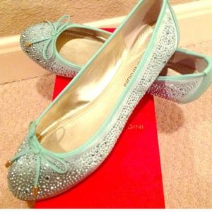 Mint sequin flats