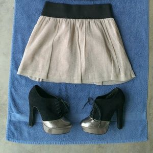 Gold Shimmer Mini Skater Skirt