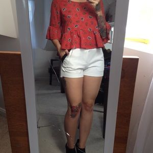 White shorts & paisley crop top
