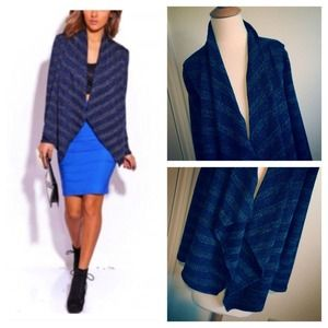 Jackets & Blazers - Midnight Blue + Metallic Stripes Open Cardigan