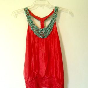 NWT Bebe Turquoise Beaded Red Orange Silk Bib Top