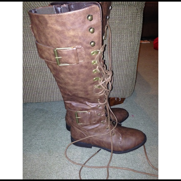 53 boots brown knee high combat boots from