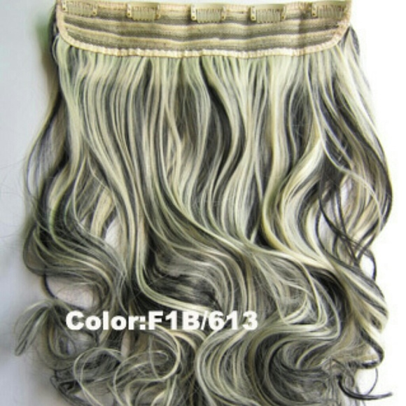 Accessories Wavy Black Blonde Highlight Clip In Hair Extension