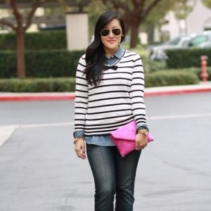 Stripe bow sweater