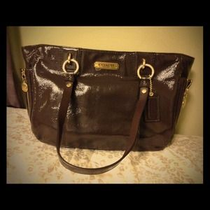 brown coach patent leather purse on Poshmark