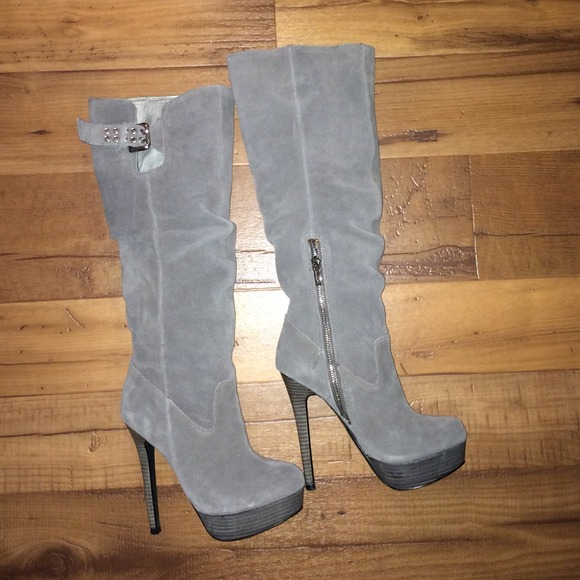e910377d4b96 Guess Shoes - Gray suede Guess high heel boots