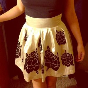 Cream silk flower skirt
