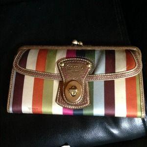 Rare Coach legacy stripe satin kisslock wallet