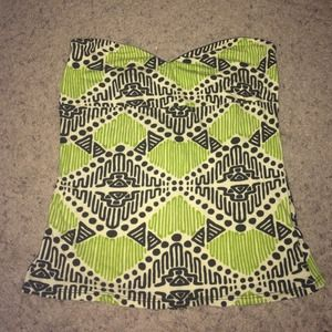 URBAN OUTFITTERS TRIBAL STRAPLESS ZIPUP TOP
