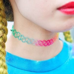 💜90's Rainbow Tattoo Choker💜