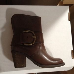 Sale! Brown buckle heel boot