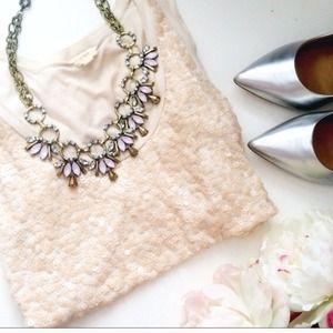Pink & Gold Rhinestone crystal statement Necklace