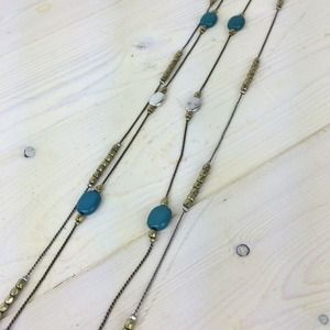 Jewelry - Two-Stand Necklace with Turquoise, Silver & Brass