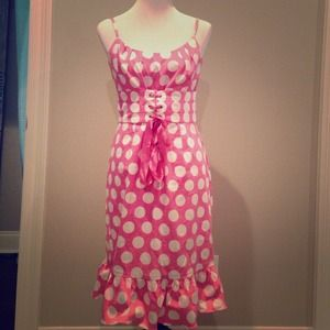 Pink and white Polka Dotted Dress