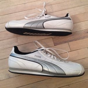 Puma White Leather Sneakers With Silver Accent