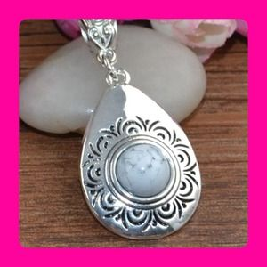 CUTE TURQUOISE TIBET SILVER NECKLACE