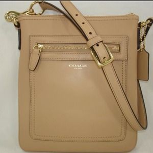 COACH cross body sand tan leather swing pack purse